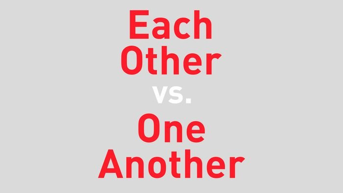 """text reads """"each other vs one another"""""""