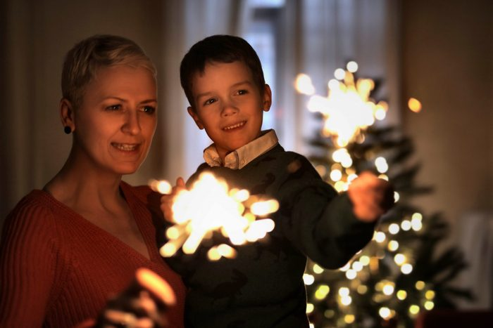 Mother and son celebrating New Year's Eve together