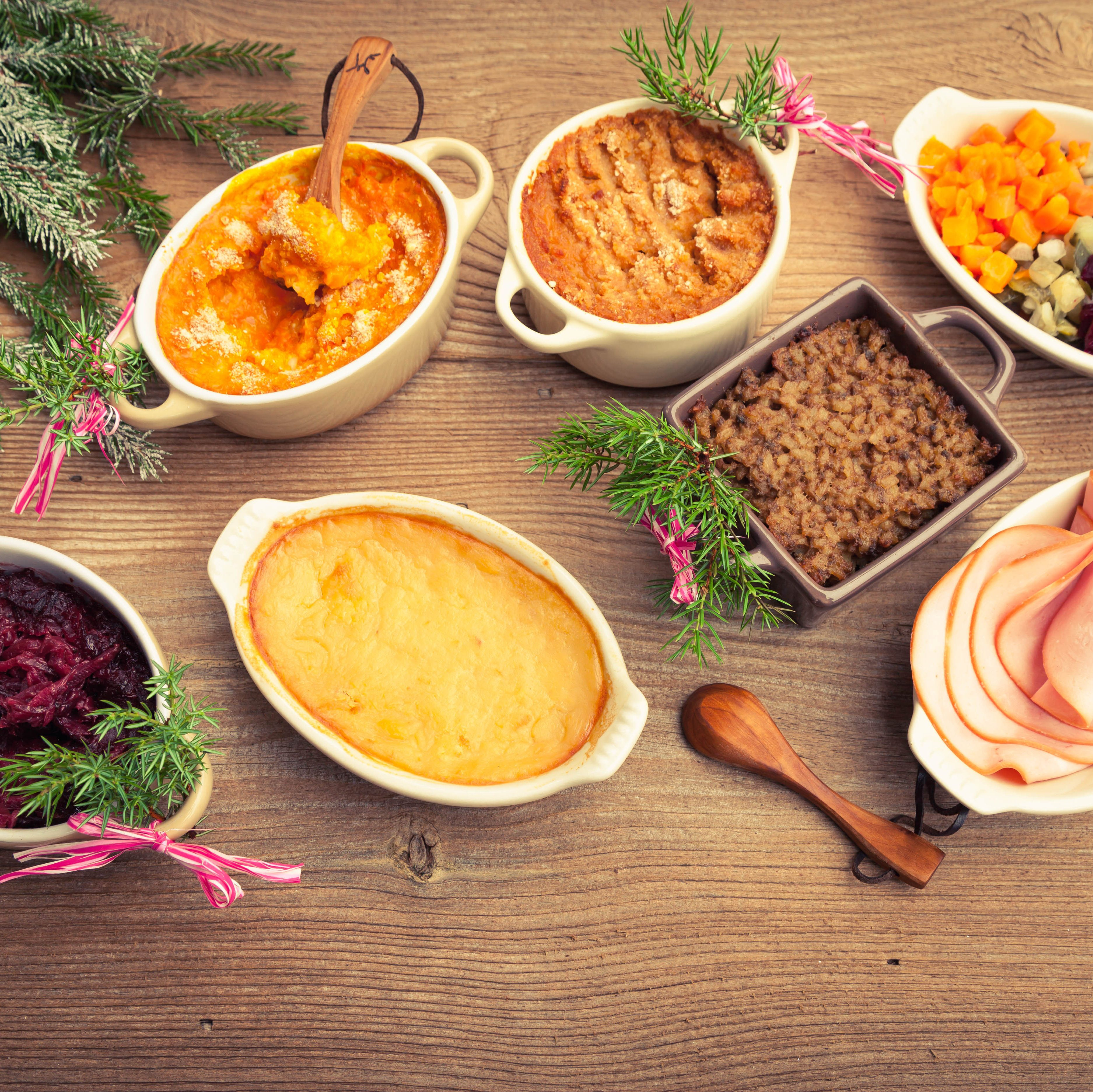 Finnish traditional Christmas table. Top view. Rustic style