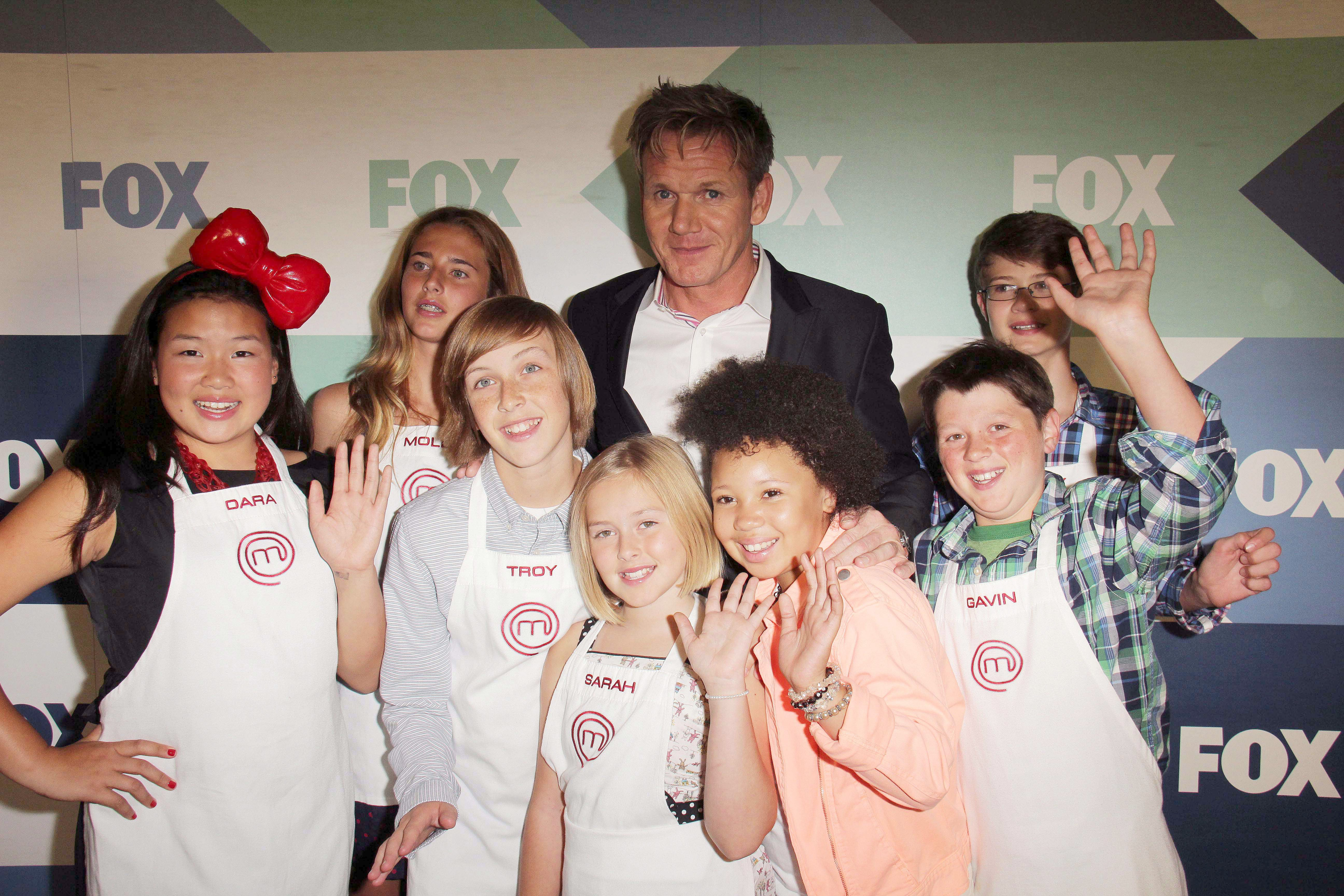 Mandatory Credit: Photo by Jim Smeal/BEI/Shutterstock (2757897bz) Gordon Ramsay and cast of Masterchef Junior Fox TCA Summer Party, Los Angeles, America - 01 Aug 2013