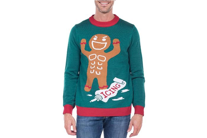 gingerbread muscleman ugly christmas sweater