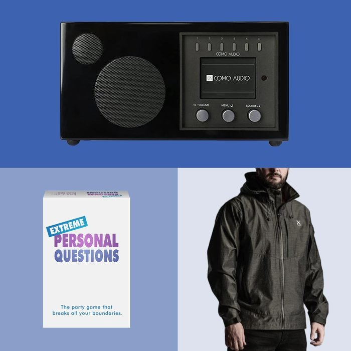 gifts for men: a windbreaker, card game, and speaker