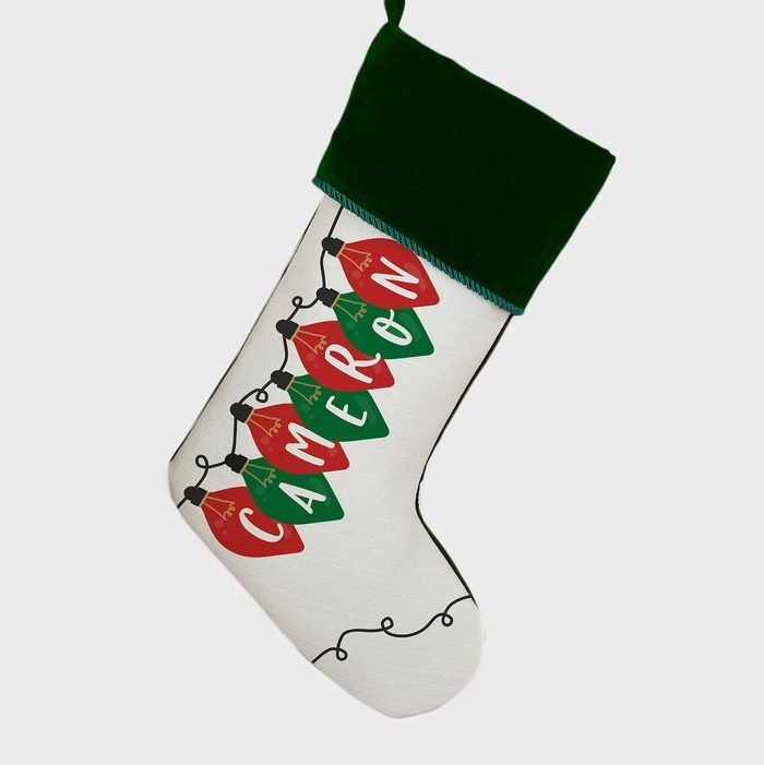 Holiday Lights Personalized Christmas Stockings Via Etsy