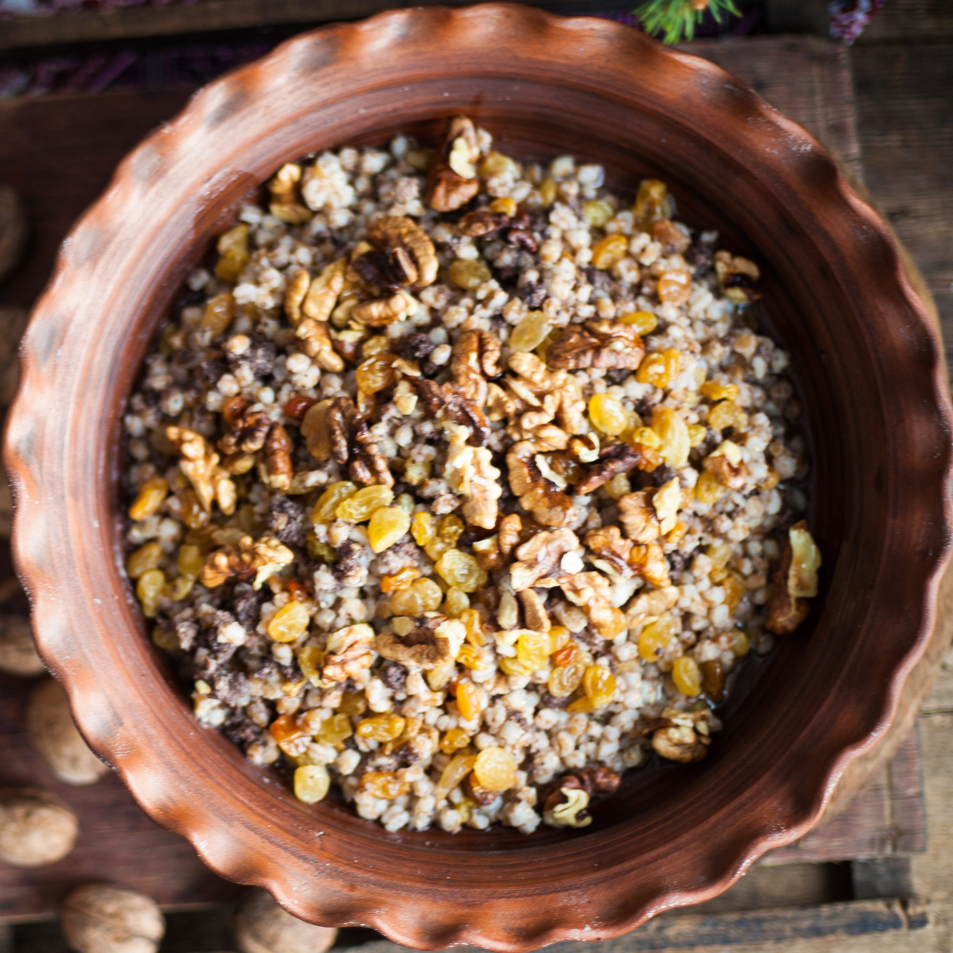 Traditional food for Orthodox Christmas. Kutya - wheat porridge with nuts, raisins, honey, poppy seeds. Wash down with compote of dried fruit.