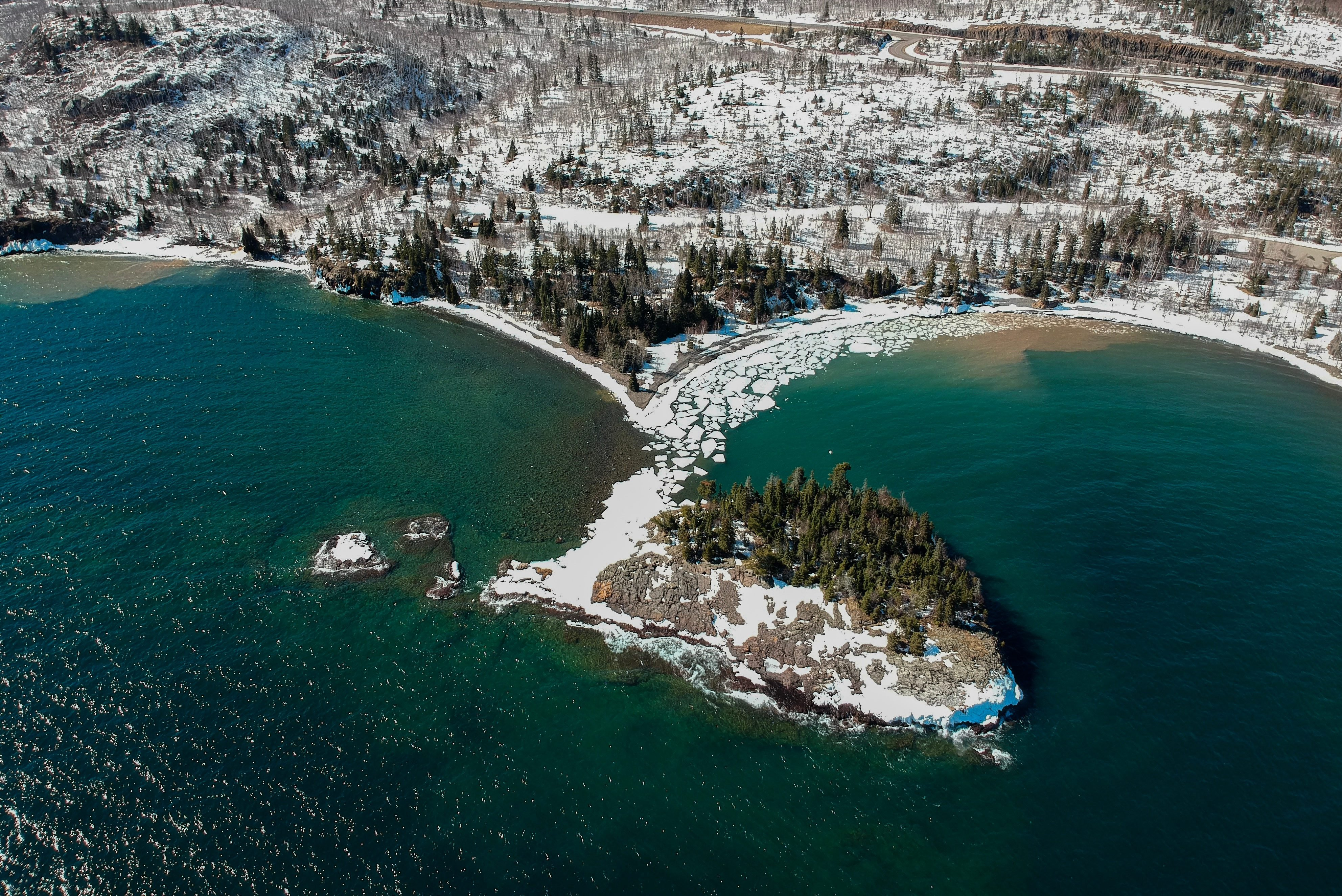 Aerial shot of island in northern Minnesota on Lake Superior