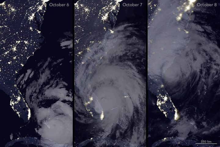 power outages hurricane from space nasa