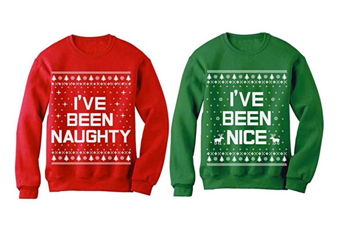naughty and nice ugly christmas sweaters
