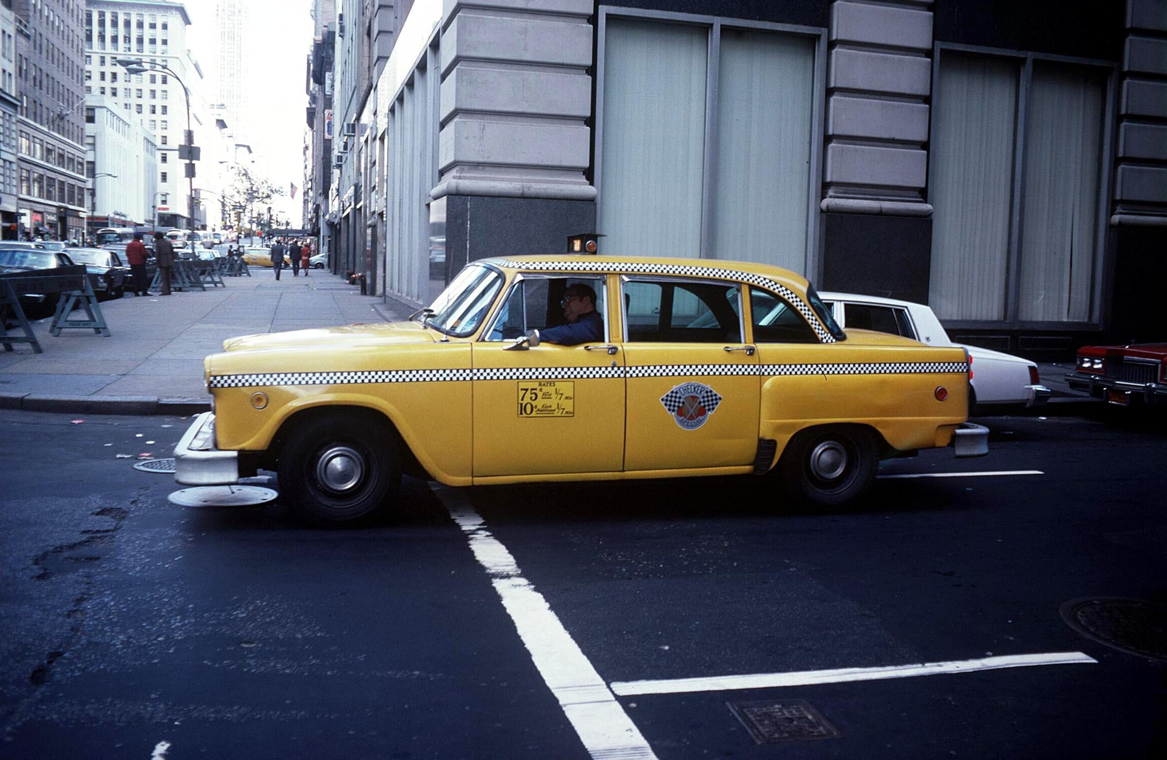 Mandatory Credit: Photo by Ray Roberts/Shutterstock (75614a) Yellow taxi cab, New York, America New York, America - 1979