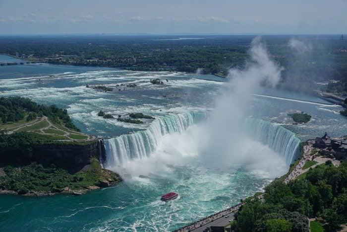 Niagara Falls, Ontario, Canada: Aerial view of tourists visiting the Niagara River, Niagara Gorge, Horseshoe Falls, and Table Rock.
