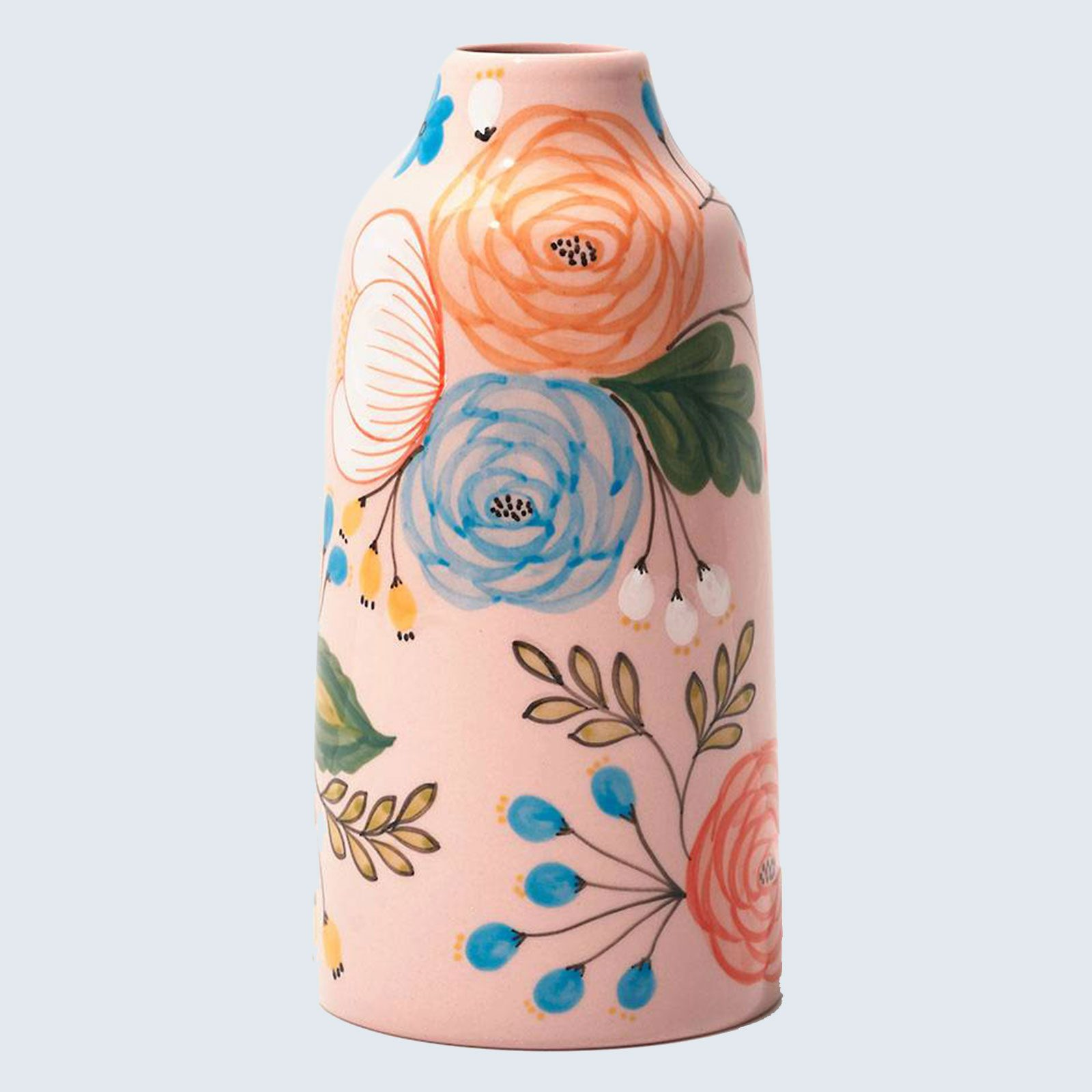 Paper Source Pink Painted Floral Vase