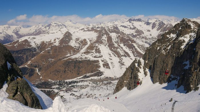Paradiso Pass in Passo Tonale. A glacier popular with skiers.