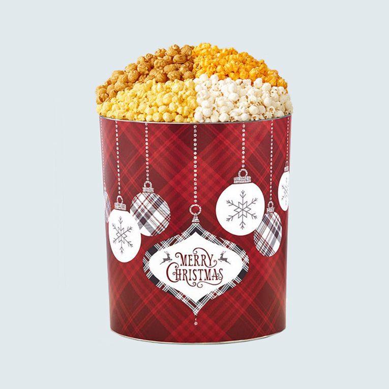 The Popcorn Factory Cozy Plaid Merry Christmas Popcorn Tin