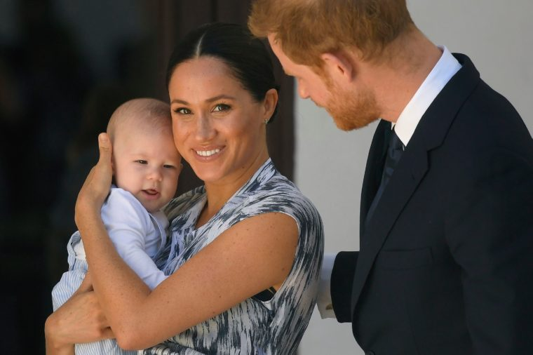 Prince Harry and Meghan Duchess of Sussex, holding their son Archie Harrison Mountbatten-Windsor at the Desmond & Leah Tutu Legacy Foundation in Cape Town, South Africa 25 Sep 2019