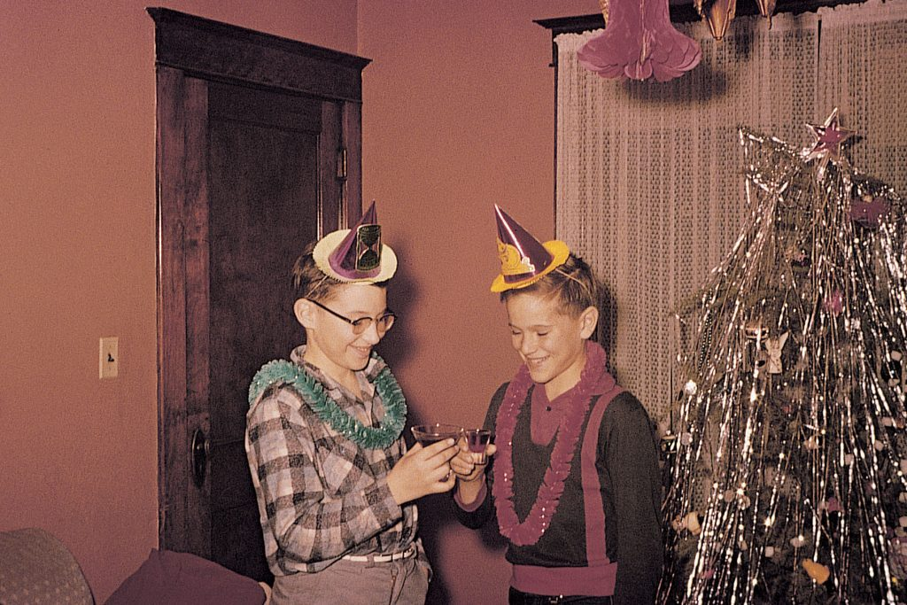 vintage photo new years celebration