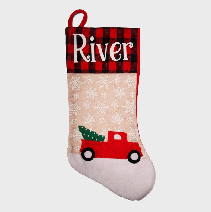 Red Truck Personalized Christmas Stockings Via Etsy