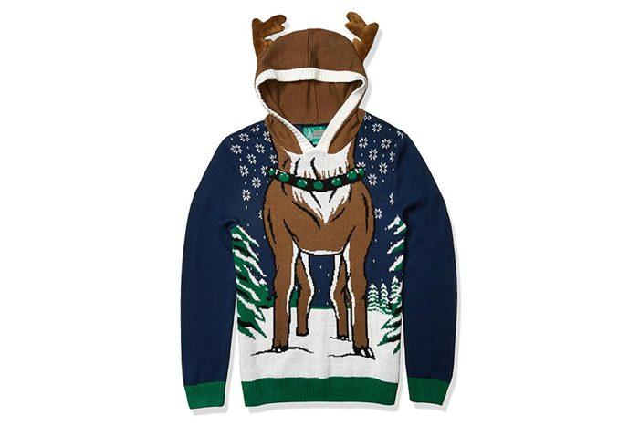 reindeer hooded ugly christmas sweater