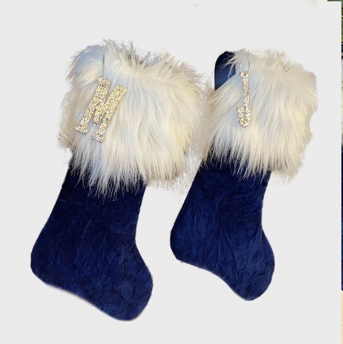 Royal Blue Personalized Christmas Stockings Via Etsy