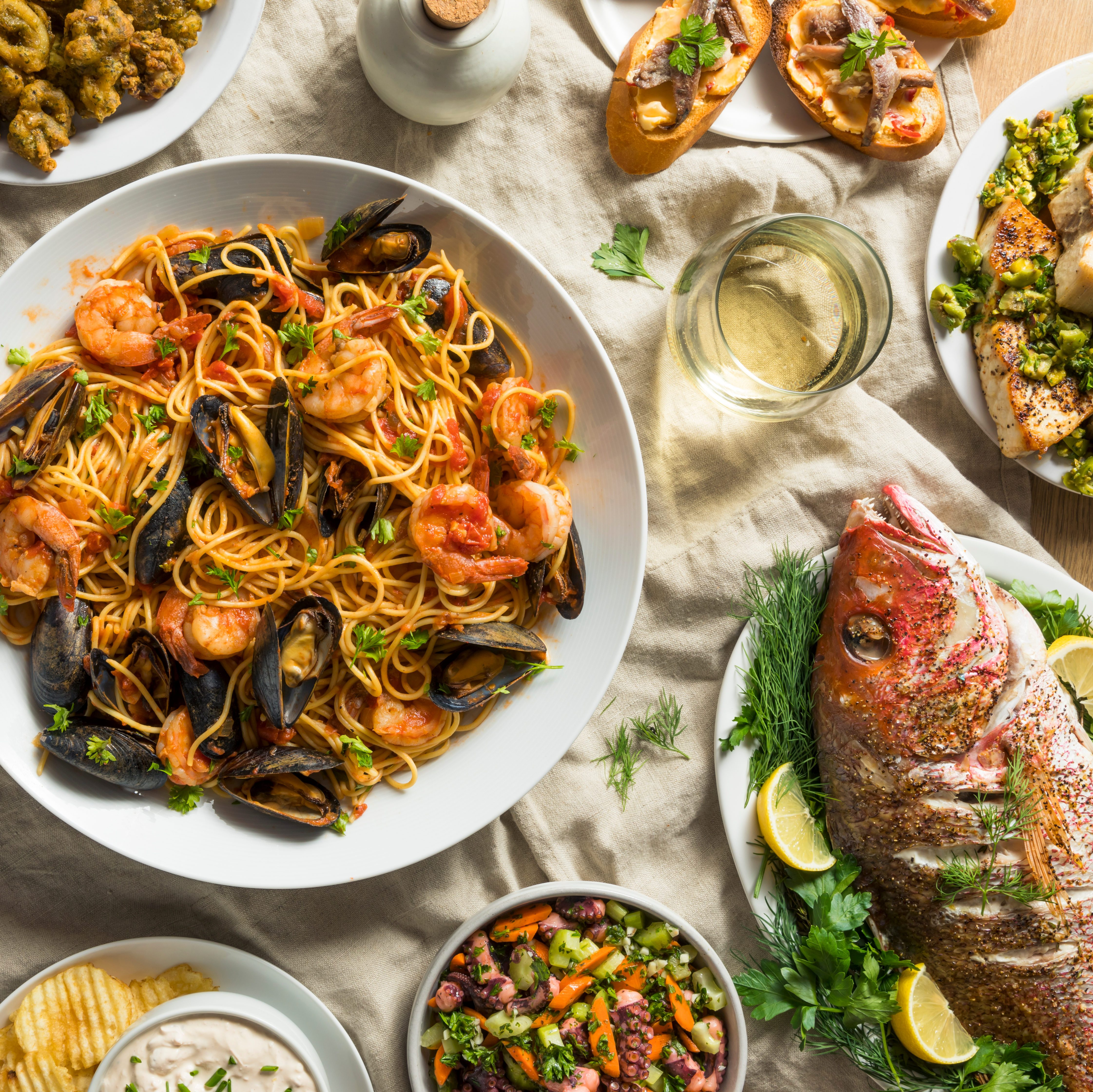 Holiday Italian Feast of 7 Fishes with Snapper Octopus and Pasta