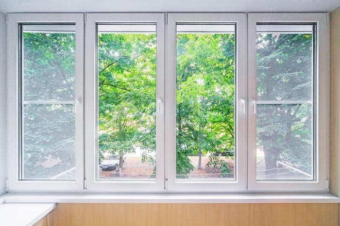Plastic window and beutiful landscape