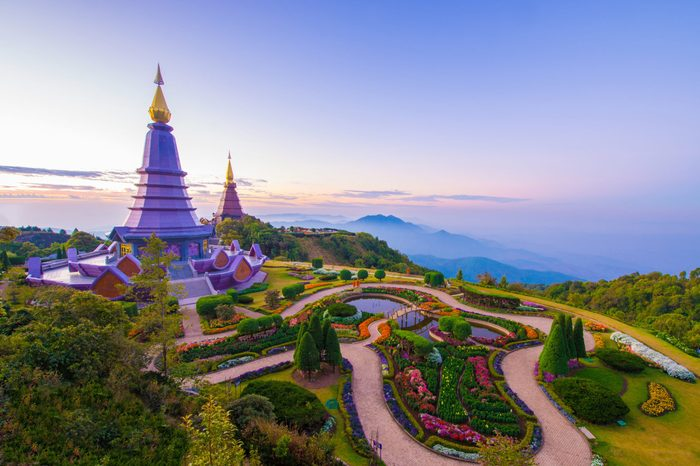 Chiang Mai Province, Doi Inthanon is the highest mountain in Thailand with stupa of King and Queen of Thailand during sunrise winter season.