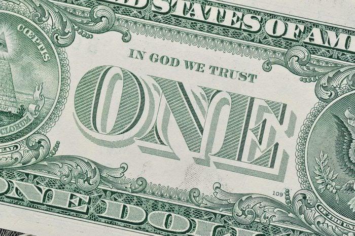 Detail of one dollar bill.