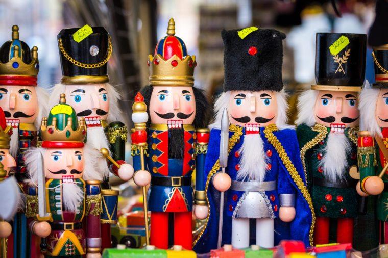many nutcracker figures in row