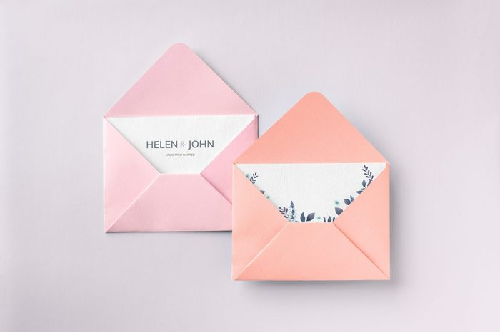 Open envelope with a card mockup