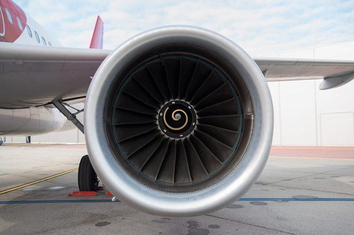Photo of an airplane turbine detail