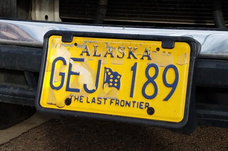 Denver, Colorado - February 28, 2019: Alaska License Plate.