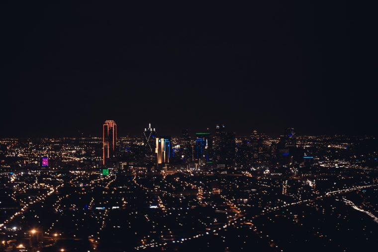 Aerial Dallas Lights