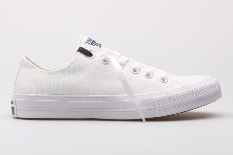 White converse sneaker on white background
