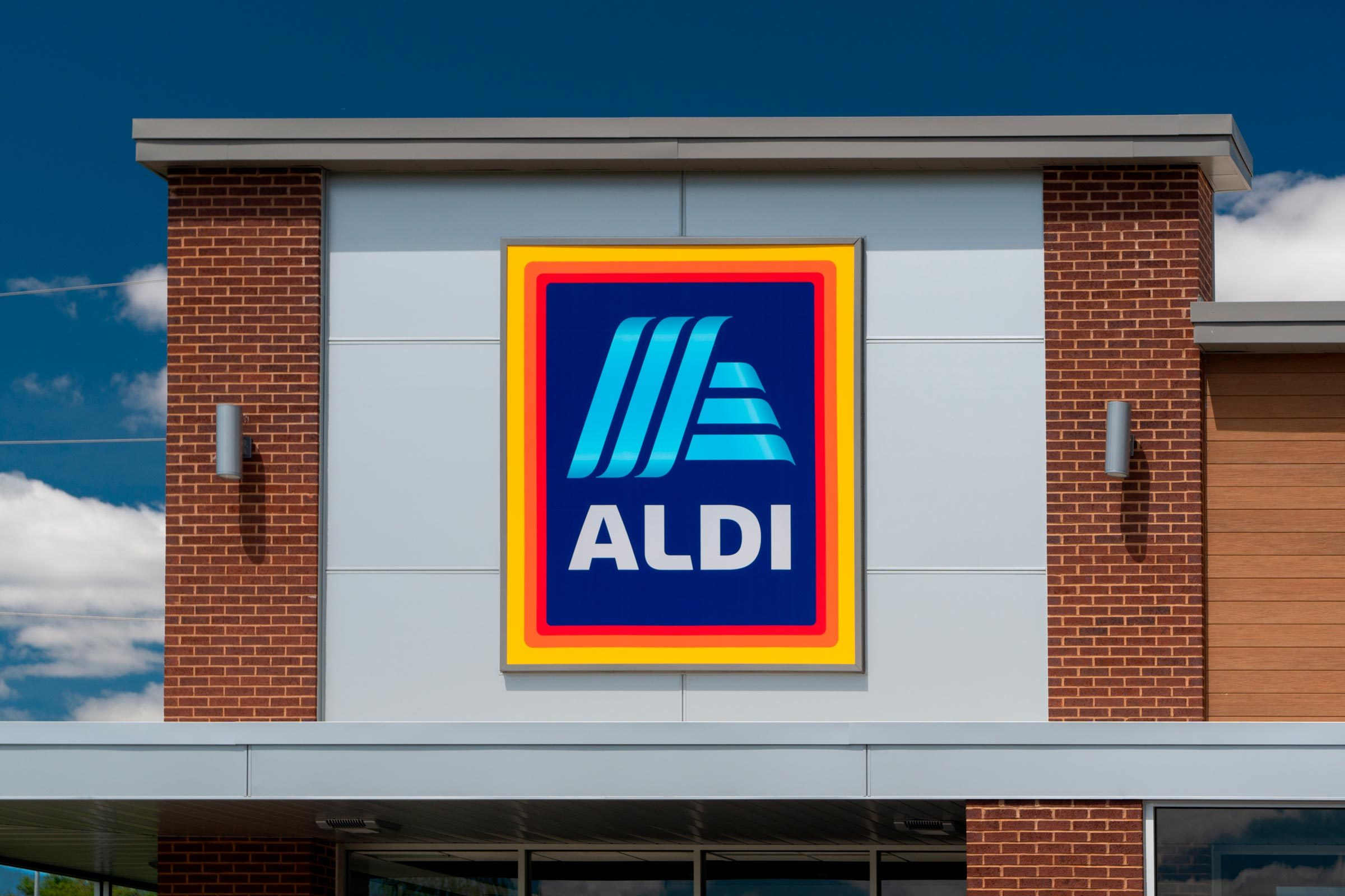 Aldi grocery store sign on a building
