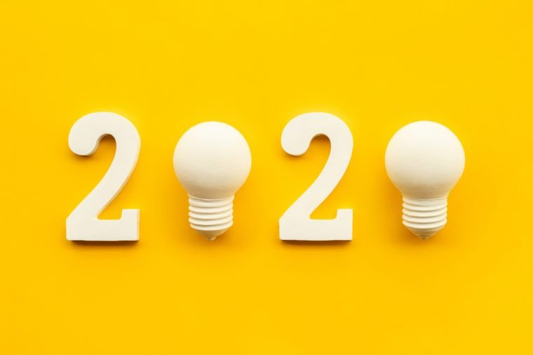 2020 creativity inspiration concepts with text nuber and lightbulb on color background.Business resolution,action plan ideas.glowing