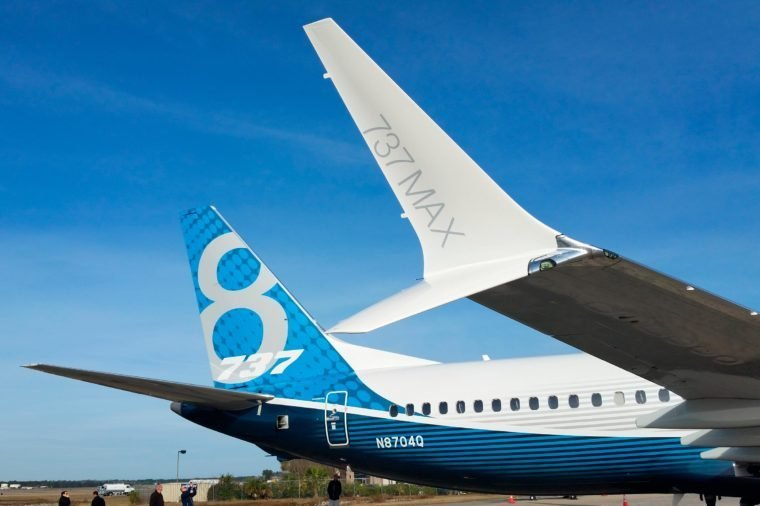 North Charleston, SC / USA - Dec 16 2016: Boeing 737 Max test vehicle visit North Charleston SC
