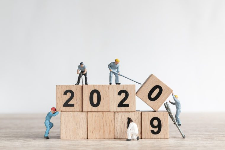 Miniature worker team create number 2020 and remove number 2019 , Happy new year 2019 concept