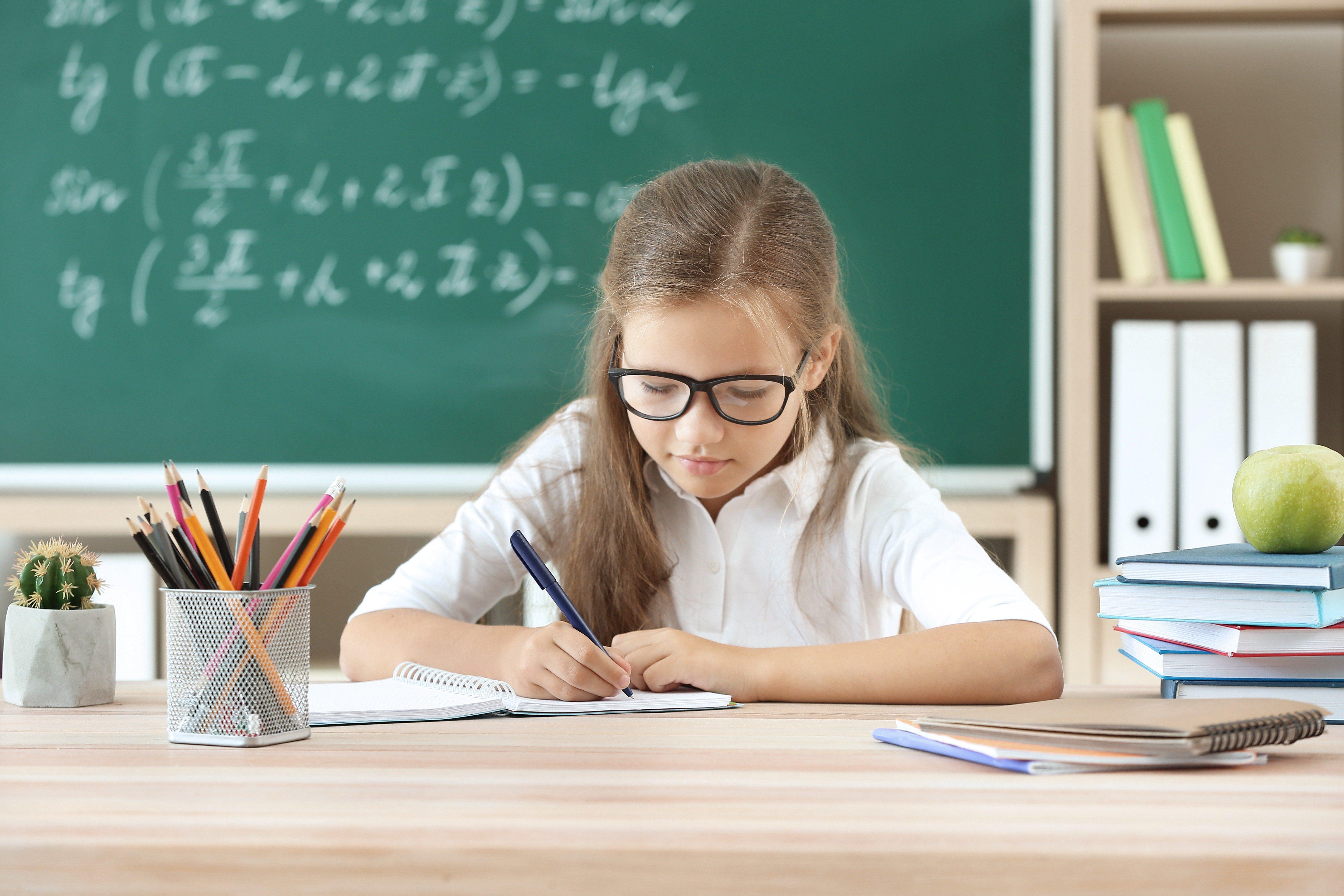 Little girl doing lessons in classroom; Shutterstock ID 1457601527; Job (TFH, TOH, RD, BNB, CWM, CM): RD