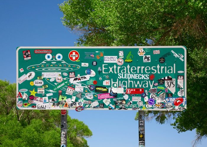 Rachel, Nevada - June 4 2014: Extraterrestrial Highway sign on Nev Highway 375 just outside of Rachel, Nevada and on the outskirts of Area 51.; Shutterstock ID 1501397576; Job (TFH, TOH, RD, BNB, CWM, CM): RD
