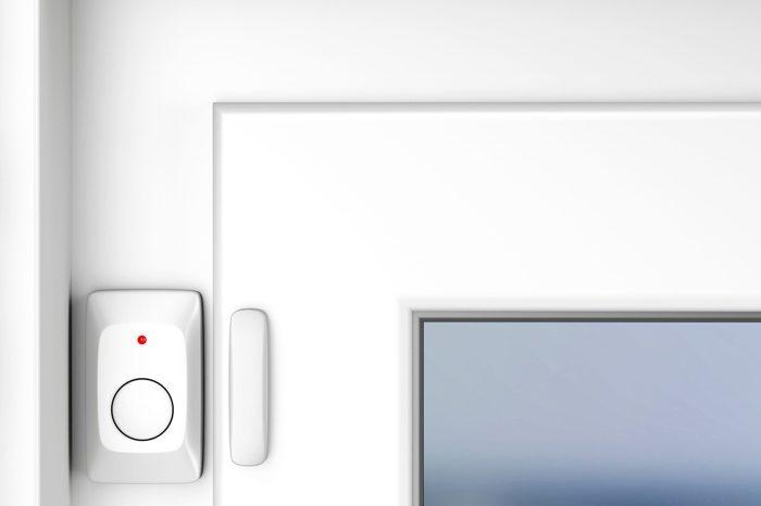 Magnetic alarm sensor on window, 3D illustration