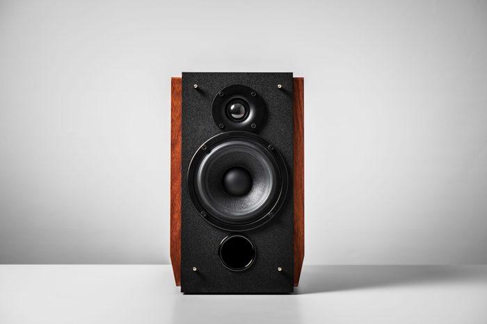 Bookshelf speaker system for home entertainment.