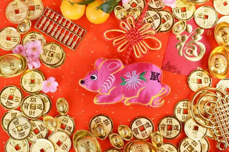 2020 is year of the rat, word on rat doll mean:rat, calligraphy translation:good bless for new year.