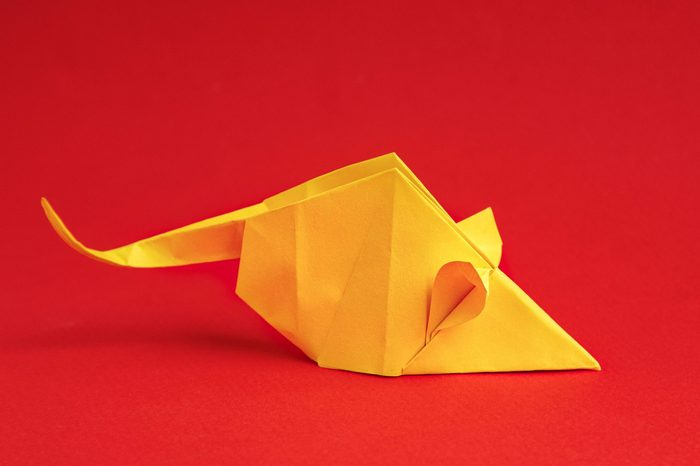 Chinese New Year 2020. Year of Rat. Chinese zodiac symbol of 2020. Origami paper animal. free space for text