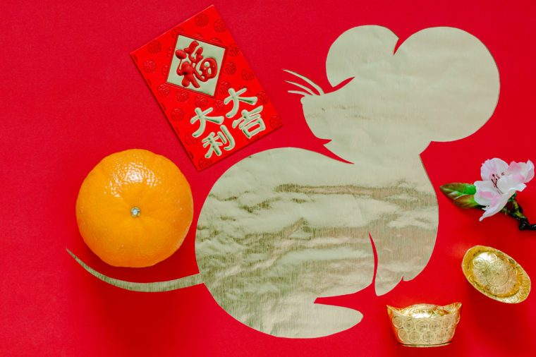 "Chinese new year festival decoration on red background that cut in rat shape put on gold paper. Chinese language on ingot means ""Blessing"", on money red packet means ""Big Fortune""."