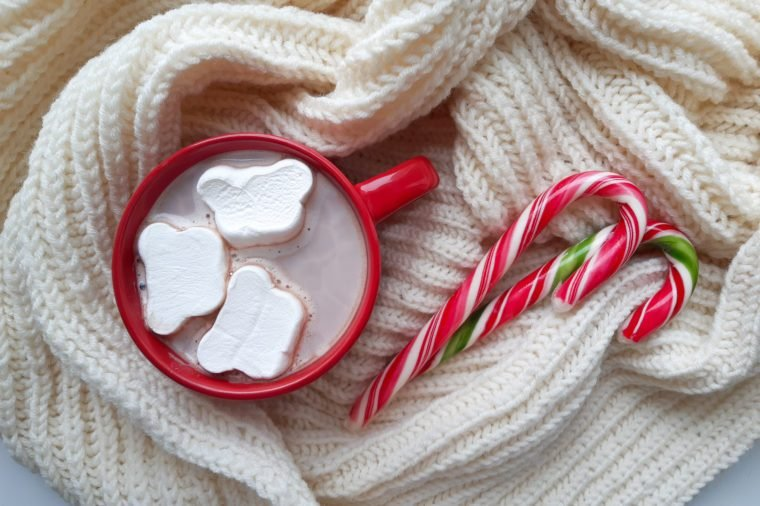 hot chocolate with marshmallow and candy canes