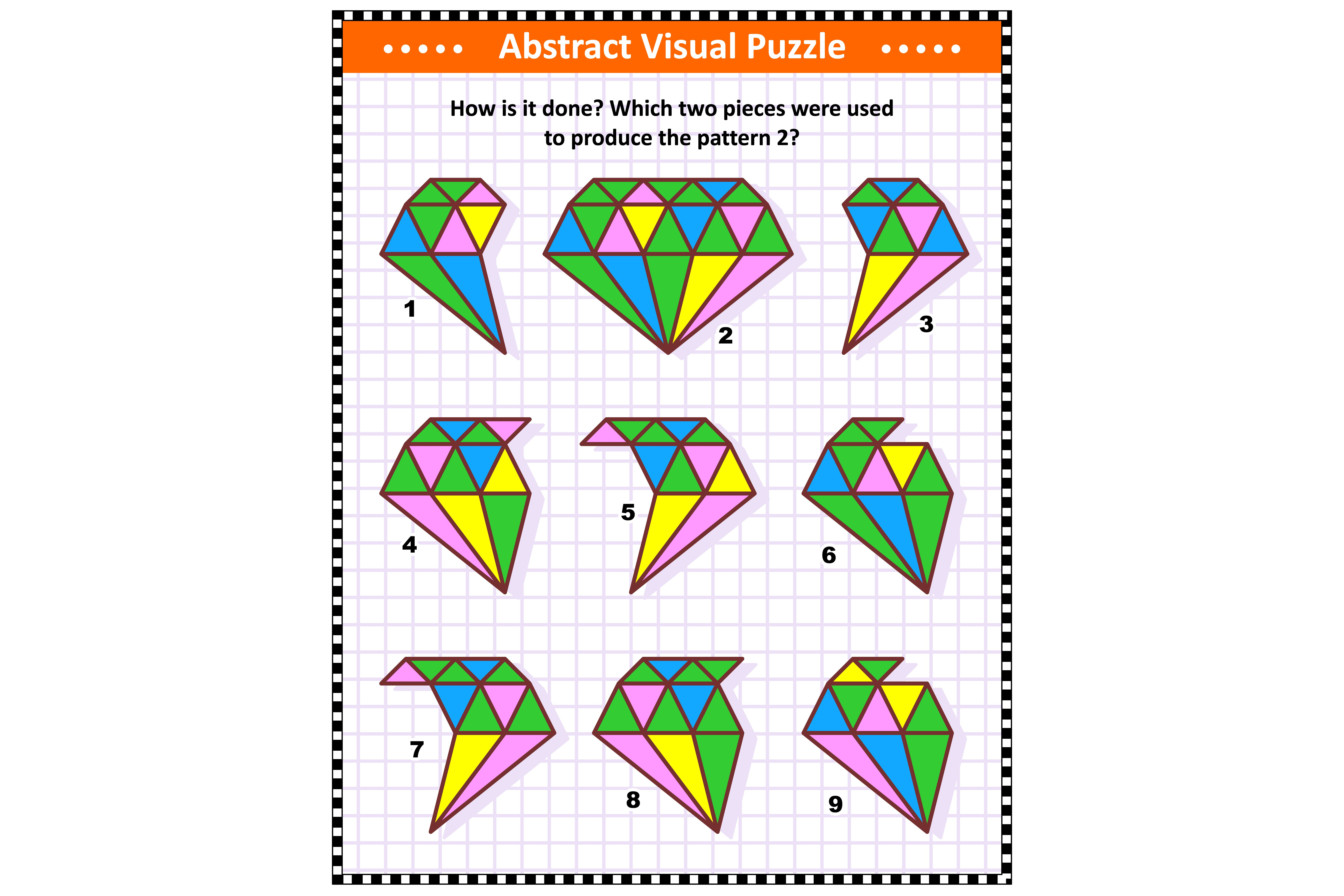 IQ, memory and spacial reasoning skills training abstract visual puzzle: How is it done? Which two pieces were used to produce the pattern 2? Answer included.; Shutterstock ID 1570897735; Job (TFH, TOH, RD, BNB, CWM, CM): RD