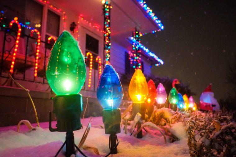 Christmas lights adorn a house in Omaha, Nebraska.