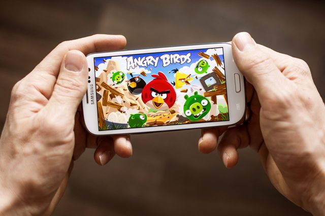 angry birds on phone