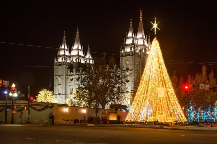 The Church of Jesus Christ of Latter-day Saints before Christmas. Salt Lake City, Utah, United States