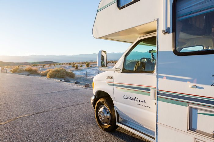 Death Valley National Park, California, USA-December 24, 2014. Typical winter RV camping in Death Valley.