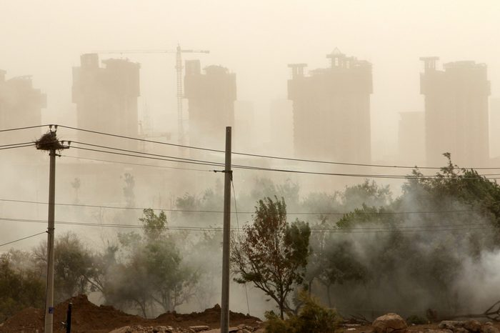 View of Yinchuan city (Ningxia province, China) during sand storm