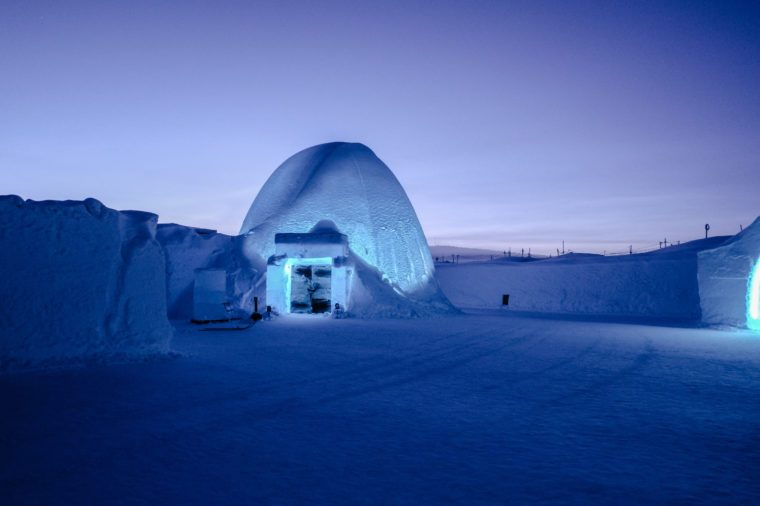 Entrance of Ice Bar at Ice Hotel, Jukkasjarvi, Sweden, Kiruna